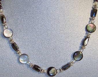 """Magnetic Hematite Necklace Featuring Abalone Pearl """"Coin"""" Beads"""