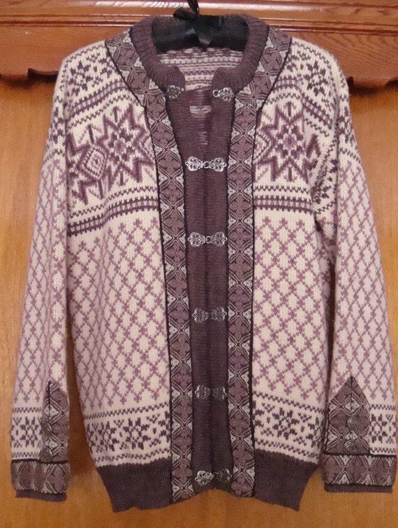 Vintage Nordic Motif Wool Coat Sweater