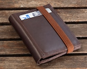 Front pocket minimalist leather wallet in Brown upcycled leather and brown elastic band - FBC
