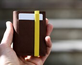 Front Pocket Wallet, Brown upcycled leather wallet secured by yellow elastic band - FBC