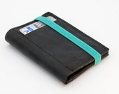 Black leather wallet - Stylish and slim - Mens wallet - Front pocket wallet