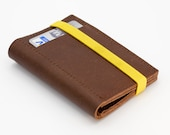 Mens Leather Wallet with Coin Pocket - Personalized Gift for Men - Dark Brown Leather - Yellow Elastic Band