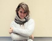Elegant brown double loop scarf, 100% cotton