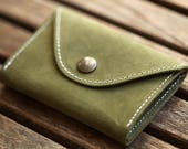 mens wallet with coin pocket, green leather - FBC