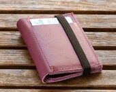 Purple leather Wallet Combined with a Black Elastic Band, Wallets for Women, Personalized Gifts