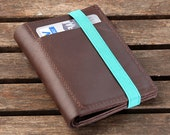Brown leather wallet for Men with elastic band, Gift for Father's Day