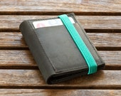 Black leather Wallet Combined with a Turquoise Elastic Band, Men's Wallet, Personalized Wallet