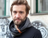Elegant Black double loop scarf, 100% cotton accessorized with a leather band
