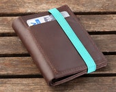 Leather Wallet for Mens | Secured by a Blue Elastic Band | Brown Upcycled Leather