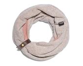 Double Loop Scarf for Women | Mocha pattern & Pink | CANNOLI