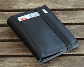 Black leather wallet tightened with black band - FBC