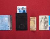 Slim Leather Wallet, Engraved Wallet, Credit Card Holder, Black