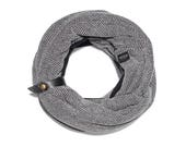 Patterned black double loop scarf, accessorized with a leather band -FBC