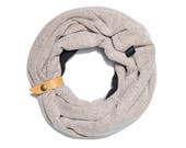 Pattern Grey Double Loop Scarf Accessorized with a Leather Band