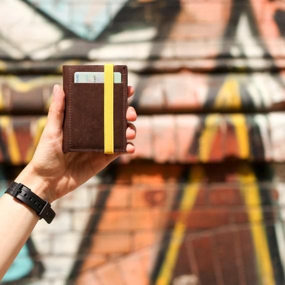 Portafoglio in pelle sottile - regali personalizzati - Portafoglio marrone piccolo e compatto