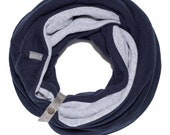 Gift For Her - Winter Infinity Scarf In Deep Blue and Light Gray