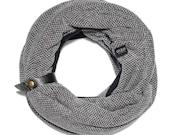 Women winter Infinity scarf | Patterned Black | CANNOLI