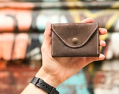 Stylish minimalist leather wallet for cards and coins