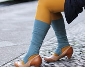Turquoise legwarmers / Open toe Spats /  colorful boot cuffs
