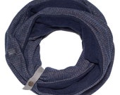 Blue infinity scarf, women's scarf, with a leather band