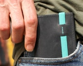 Slim wallet - Minimalist leather wallet - Deep black leather - Wallet for men