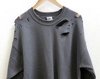 Distressed Unisex Sweatshirt style 2 (Green,Grey,Black)