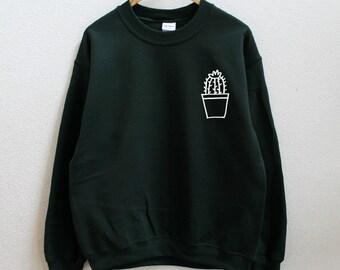 fa3000b11b Cactus pot dark green sweatshirt
