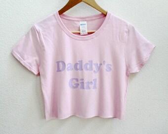 8bd5b364c84 Daddy's Girl Pink Women's Crop Shirt XS-3Xl
