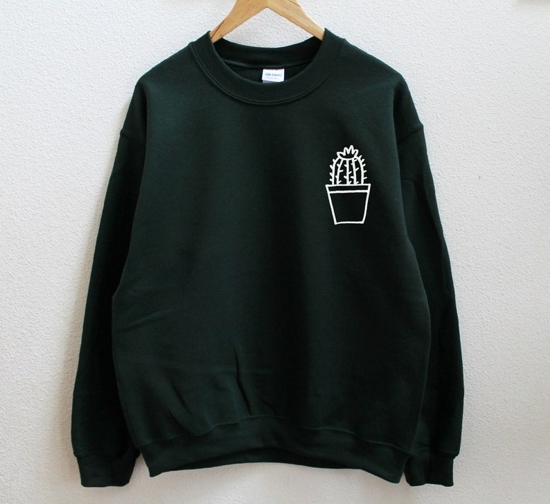 0520fc467a8 Cactus pot dark green sweatshirt