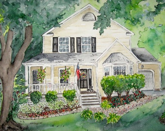Custom House Painting, Gift for Parents, Watercolor Painting of Home, First Anniversary Gift, Mother's Day Gift of Custom Portrait