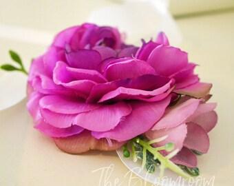 Purple corsage, Purple ranunculus, Bridal corsage, Wrist corsage, Corsage wristlet, Wedding corsage, Prom corsage, Flower corsage, Indi