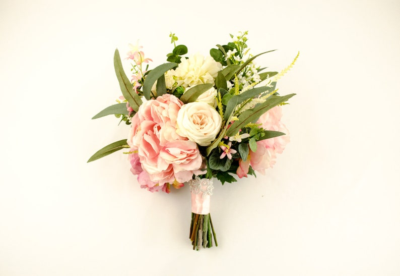 spring wedding hand tied stunning country wedding bouquet dahlia bouquet realistic fresh peony bouquet pink silk floral bouquet