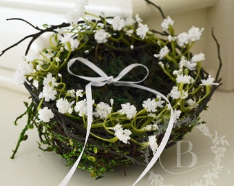 Bird nest ring carrier, Moss ring carrier, Wedding ring carrier, Alternative ring pillow, Wedding ring bearer, Wedding, Decorations