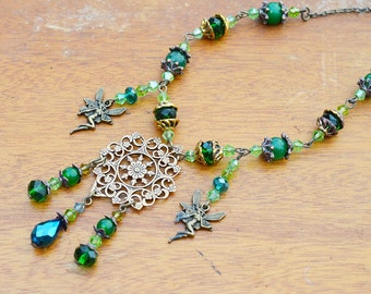 Tinkerbell Forest Necklace- Handmade pendant green agate gemstone fairy cosplay fantasy victorian jewelry