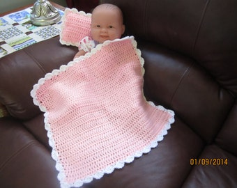Pink and White Baby Doll Blanket and Pillow Set