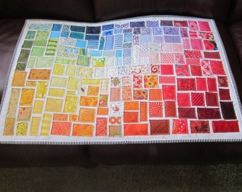"""Rainbow Quilt, Ticker Tape Quilt, Color Wheel Quilt  -MADE TO ORDER- approx. 22""""x 28"""""""