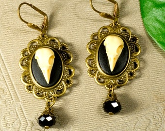 Earrings, bird, skull, bird skull, gothic, bronze, Victorian
