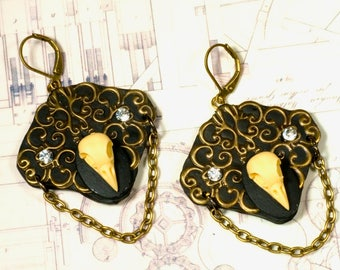 Earrings, bird skull, gothic, steampunk, baroque, Victorian