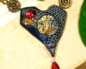 Necklace, steampunk, heart, eye, watch case, MECHANICAL HEART
