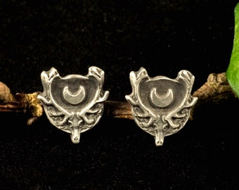 Hunting, Antlers, Stud earrings 925 Silver, Moon, Artemis, Diana, Deer, Skull, Goddess, Witch, Larp, Middle Ages, Gothic, Pagan, Vikings