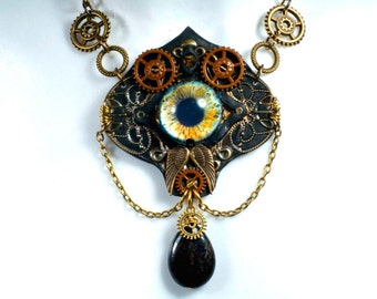 Necklace, steampunk, eye m
