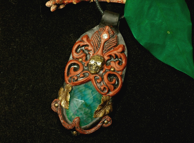 Skull Branches Pendant Baroque Polymer Clay Gothic Leaves Larp Skull Single Piece Victorian Steampunk