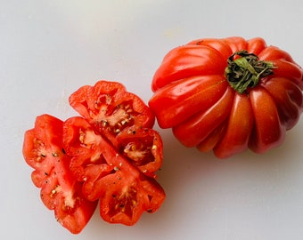 Zapotec ruffled tomato, rare Mexican heirloom, 15 seeds, loves dry heat, sweet flavor, scalloped slices, drought tolerant