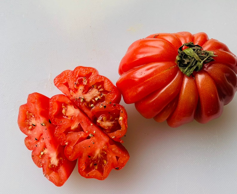 Zapotec ruffled tomato, rare Mexican heirloom, 15 seeds, loves dry heat, sweet flavor, scalloped slices, drought tolerant photo
