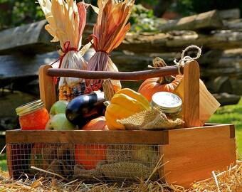 Garden Basket Harvesting Basket Wooden Basket Caddy Tote Fruit Gift Basket Hod Lg.
