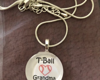 T-Ball Grandma charm necklace