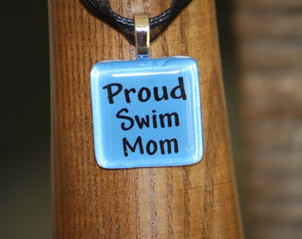 Proud Swim Mom glass tile by Maggie Taggie glass tile tags.
