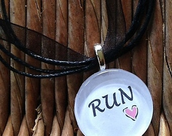 RUN glass tile tag necklace