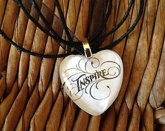 INSPIRE glass tile tag Necklace