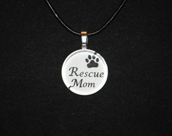 Rescue Mom glass tile tag by Maggie Taggie glass tile tags